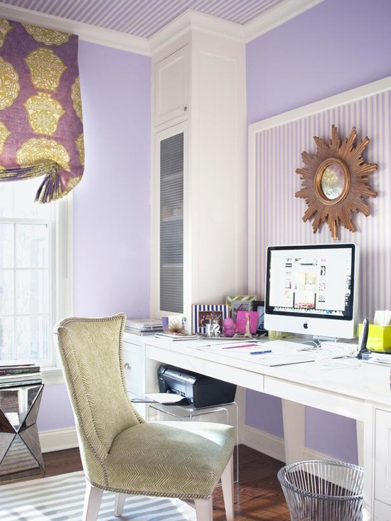 Purple Office - Contemporary - den/library/office - Muse Interiors