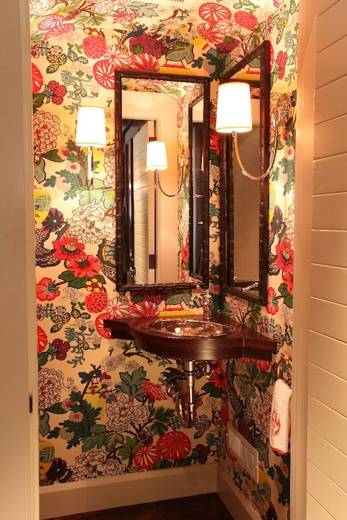 Laundry Room Lighting Chiang Mai Dragon Wallpaper - Eclectic - Bathroom - Liz