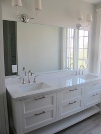 White Quartz Bathroom Countertops Design Ideas
