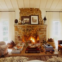 Rustic Stone Fireplace - Country - living room - Martyn ...