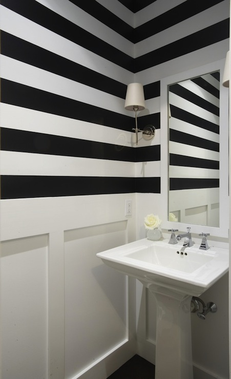 Black And White Striped Wallpaper Black And White Striped Walls Contemporary Bathroom