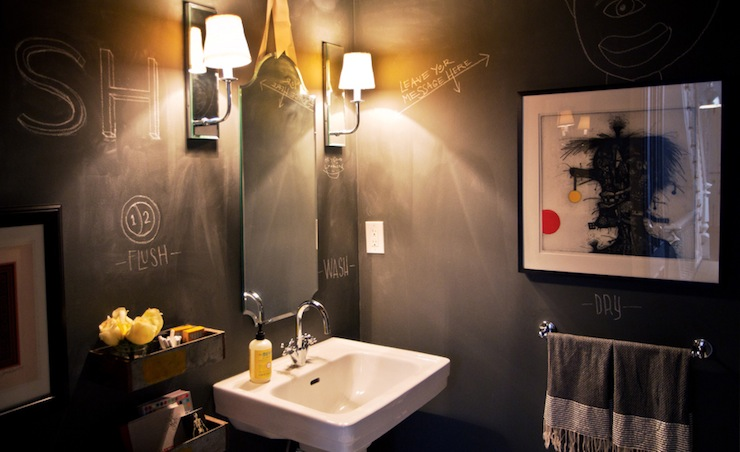 Charcoal Gray Chalkboard Bathroom Walls - Contemporary - Bathroom