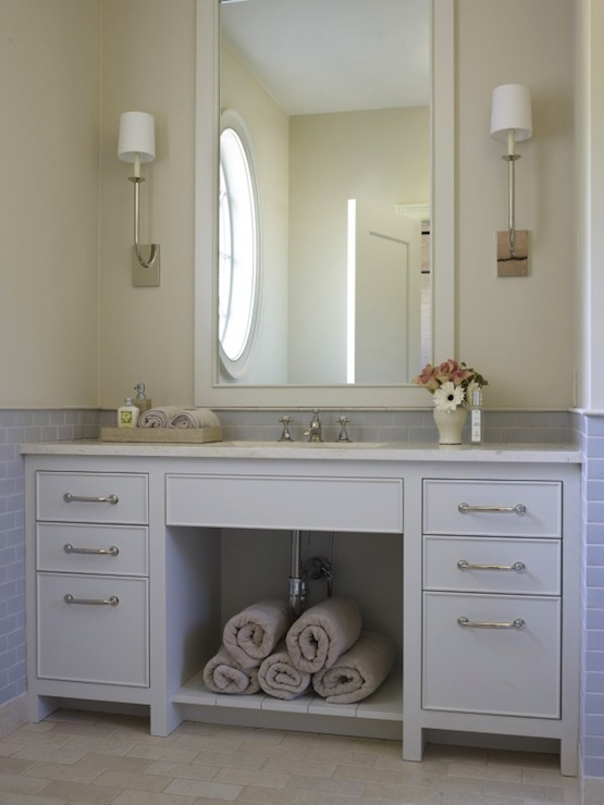 Girl And Marble Wallpaper Blue Subway Tile Transitional Bathroom Hickman