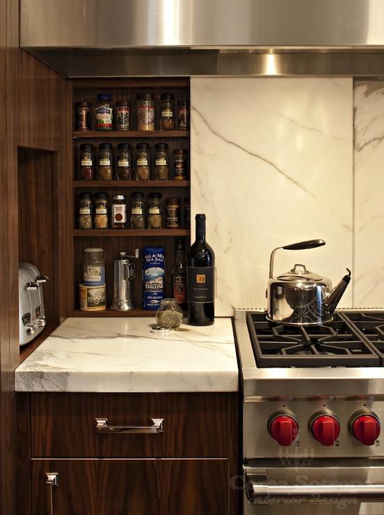 Girl And Marble Wallpaper Hidden Spice Cabinet Contemporary Kitchen Corea