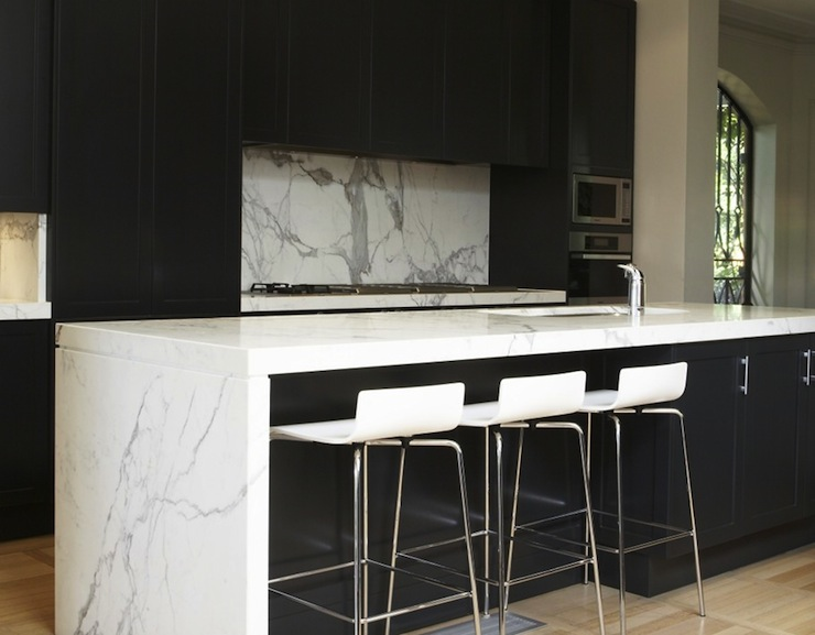 Black Kitchen Cabinets With White Countertops Modern