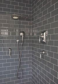 Gray Subway Tile Shower Design Ideas