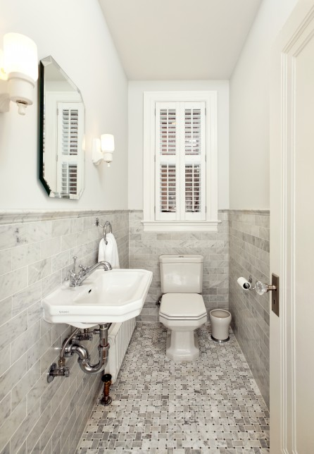 Wc Minimalis Marble Subway Tile - Transitional - Bathroom - Four