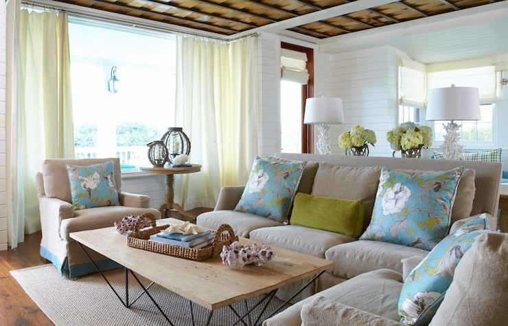 Sofa Art Brasil Brown And Turquoise Living Room - Cottage - Living Room