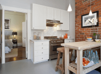Exposed Brick Wall - Contemporary - kitchen - Tamara Mack ...