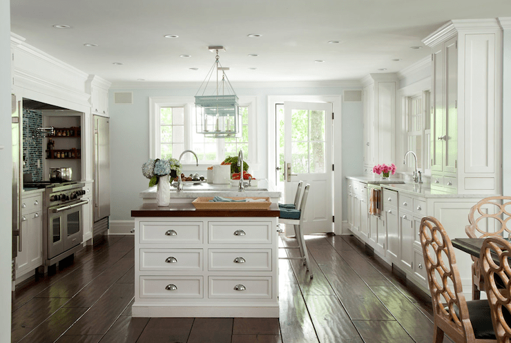 U Shaped Kitchen Design With Island Blue And White Kitchen - Cottage - Kitchen - Amanda Nisbet