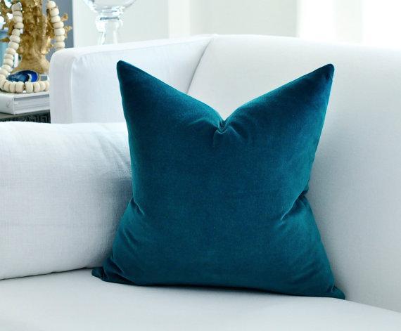 Simple Wallpaper Cute Belgian Peacock Blue Velvet Pillow Cover