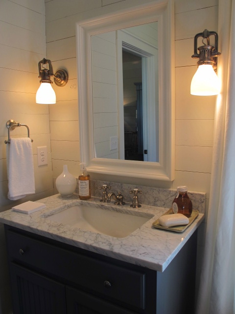 Girl Black And Gray Wallpaper Coastal Bathroom Cottage Bathroom Sherry Hart Designs