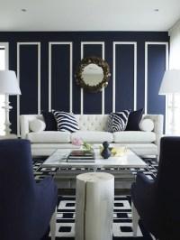 Contemporary Navy Blue Living Room Design