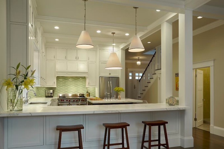 Beautiful Kitchens With Islands White And Green Kitchen - Contemporary - Kitchen