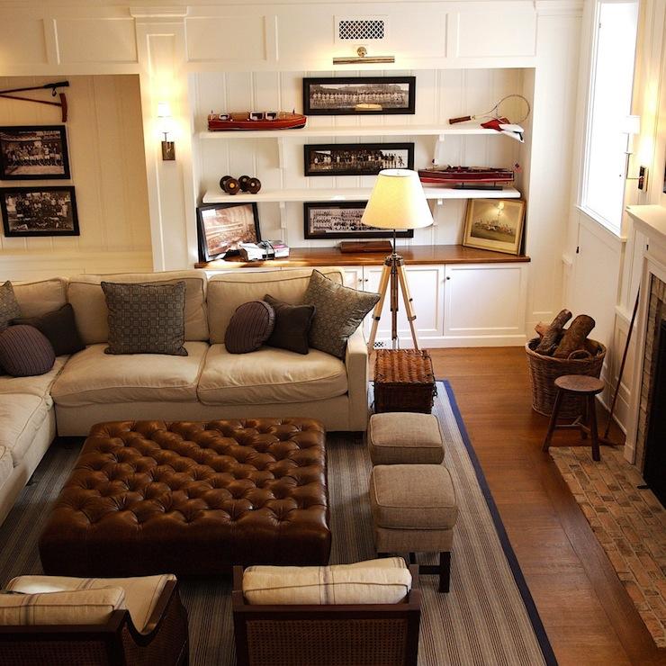 Brown Leather Ottoman Coffee Table - Cottage - living room - living room ottoman