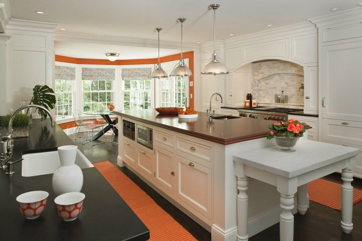 Kitchen Island With Cooktop And Prep Sink White And Orange Kitchen
