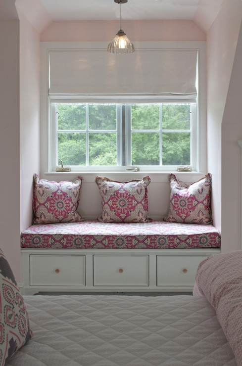 White Twin Bed With Storage Pink And Gray Girls Room - Transitional - Girl's Room
