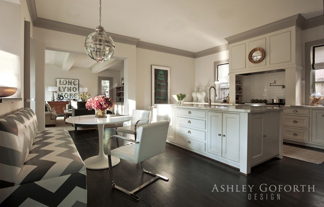 Marble Top Kitchen Island Gray Crown Molding - Contemporary - Kitchen - Ashley