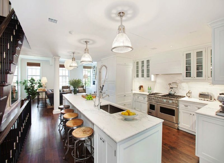 Over The Sink Lighting Long Kitchen Island - Transitional - Kitchen - Cococozy