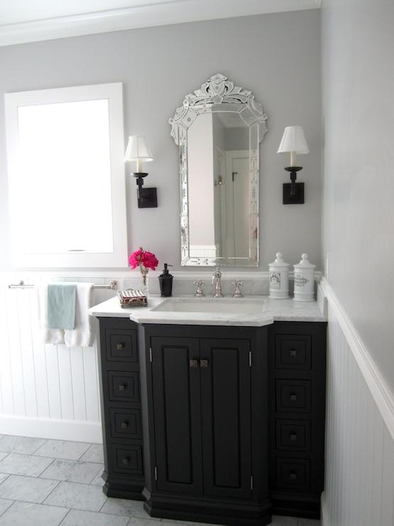 Black Beadboard Wallpaper Venetian Mirror Traditional Bathroom Classic Casual Home