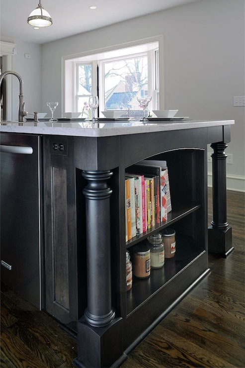 Black Marble Wallpaper Kitchen Island Bookshelf Design Ideas
