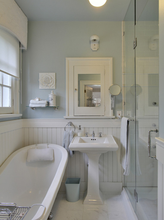 Over The Sink Lighting White Beadboard Bathroom - Cottage - Bathroom - Benjamin