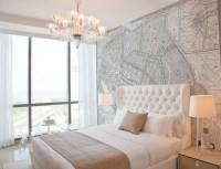 Vintage French Map Mural - Contemporary - bedroom
