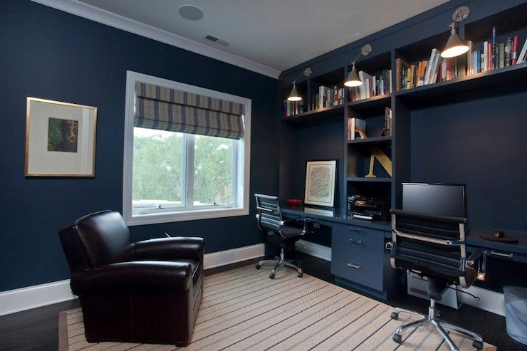 Traditional - Den/library/office - Benjamin Moore Hale Navy