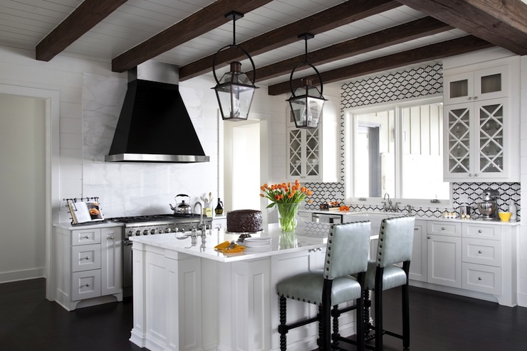 Kitchen Island With Cooktop And Prep Sink Exposed Wood Beams - Cottage - Kitchen - Southern Living