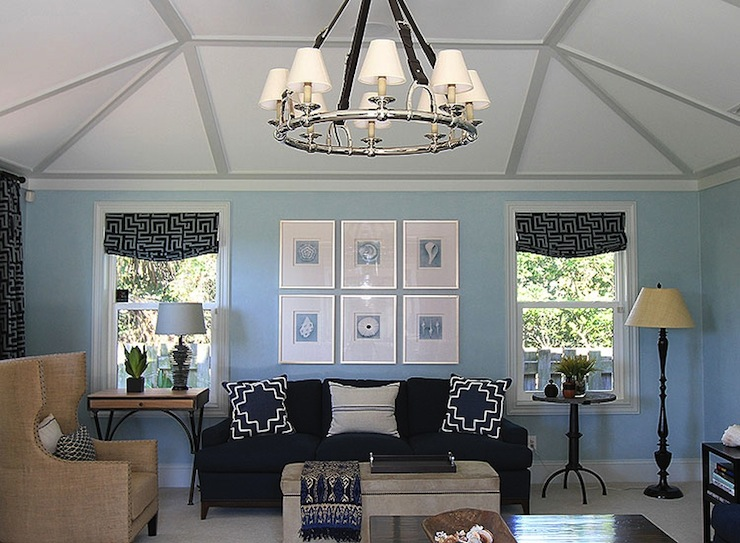 Blue And Beige Living Room Contemporary Living Room