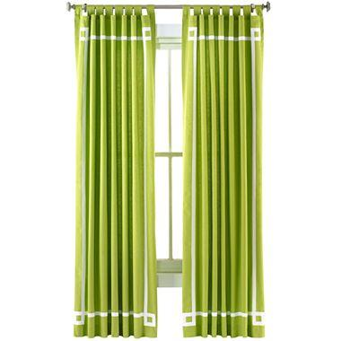 Happy Chic by Jonathan Adler Charlotte Canvas Curtain Panel I jcpenney - solid green border