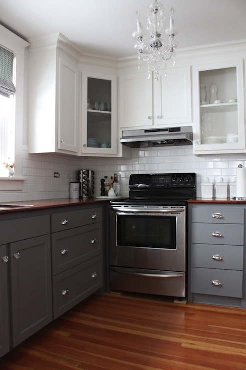 Ikea Wooden Shelves Gray Kitchen Cabinet Paint Colors - Transitional - Kitchen