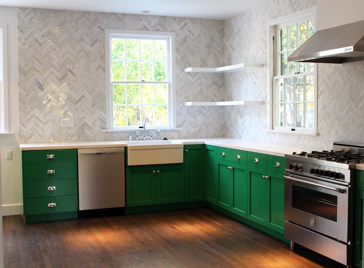 Gree N White Combination For Kitchen Cabinets Emerald Green Paint Design Ideas