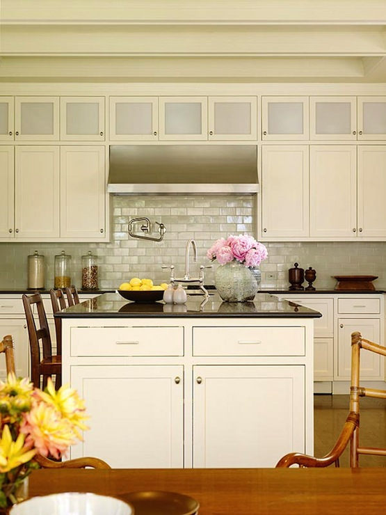 Kitchen Island Counters Iridescent Backsplash - Cottage - Kitchen - Christine