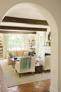 Hex Terracotta Tile Floor - Mediterranean - living room ...