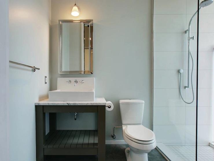Girl And Marble Wallpaper Gray Washstand Modern Bathroom Jas Design Build