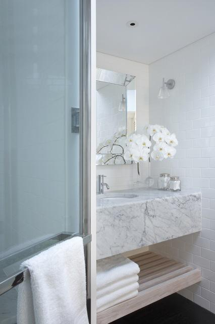 Glass Subway Tile Shower Floating Marble Vanity - Contemporary - Bathroom - Burley
