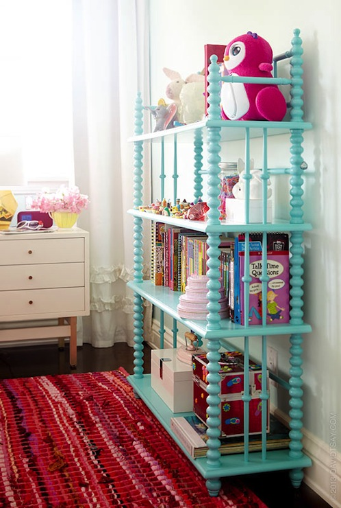 Bright Turquoise Wallpaper For Girls Room Jenny Lind Bookacse Eclectic Girl S Room Emily Henderson