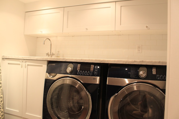Black And White Marble Wallpaper Laundry Room Cabinets Transitional Laundry Room