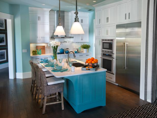 White Kitchen Island With Butcher Block Top Turquoise Kitchen Island - Kitchen - Sherwin Williams