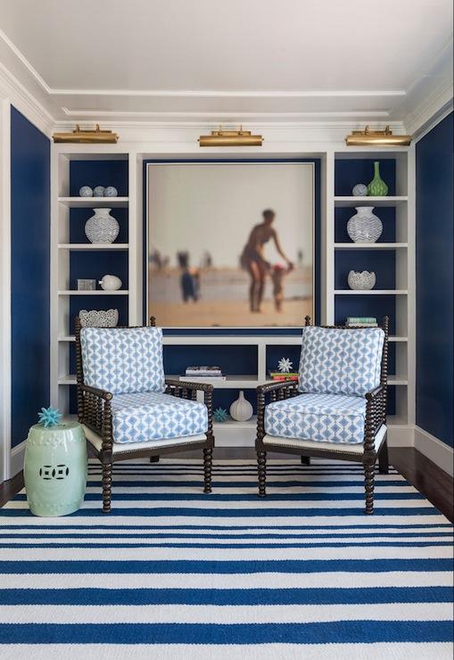 Navy Blue Office - Cottage - den/library/office - Benjamin Moore