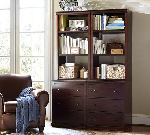Logan Modular Bookcase With Drawers Pottery Barn