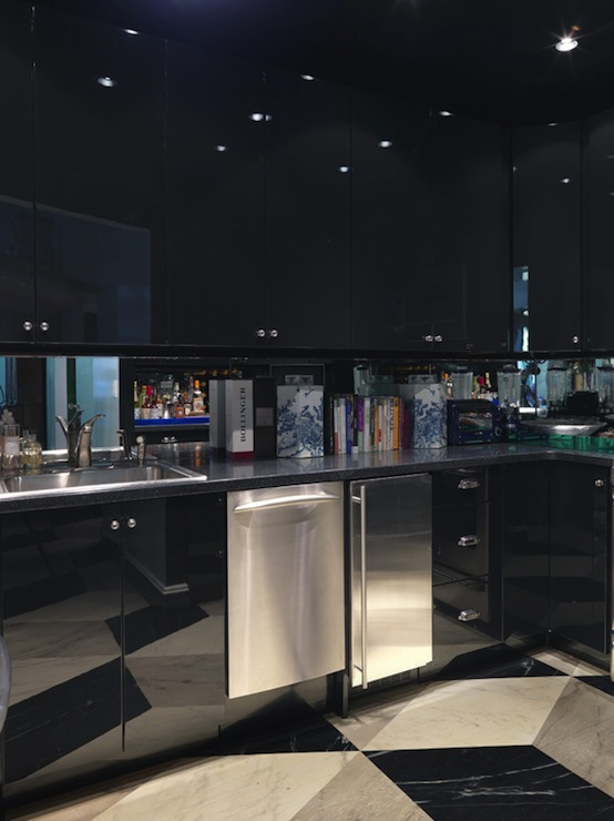 Black And White Wallpaper Designs Black Lacquer Cabinets Contemporary Kitchen Miles Redd