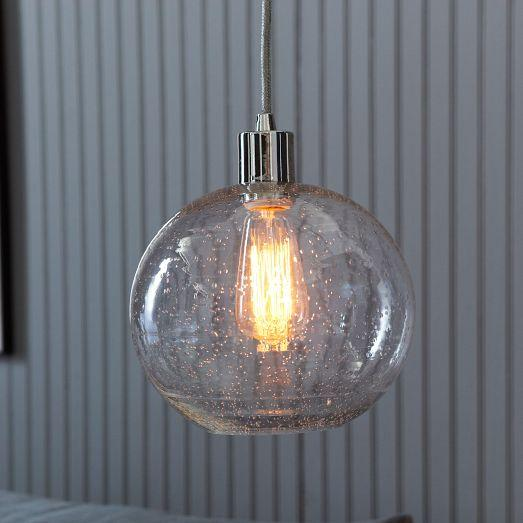 Seeded Glass Pendant Light Seeded Glass Shade - West Elm