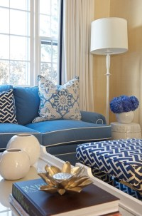 Navy Sofa With White Piping Design Ideas