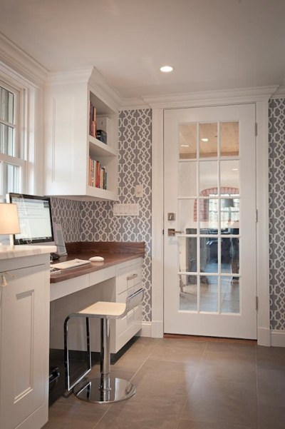 Gray Trellis Wallpaper - Transitional - kitchen - JCS Construction