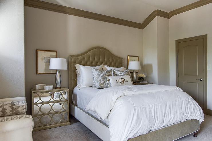 Wallpaper Accent Wall Taupe Headboard - Transitional - Bedroom - Ej Interiors
