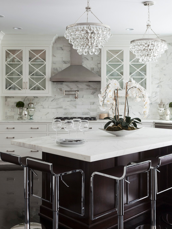Pendant Lighting White Kitchen Angles Center Island - Transitional - Kitchen - Susan