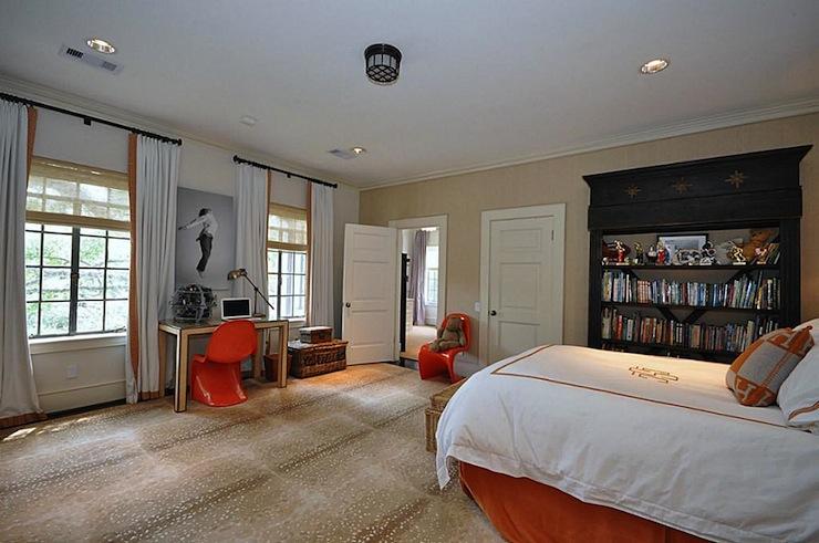 Animal Bedroom Wallpaper Hermes Pillow Transitional Boy S Room Har