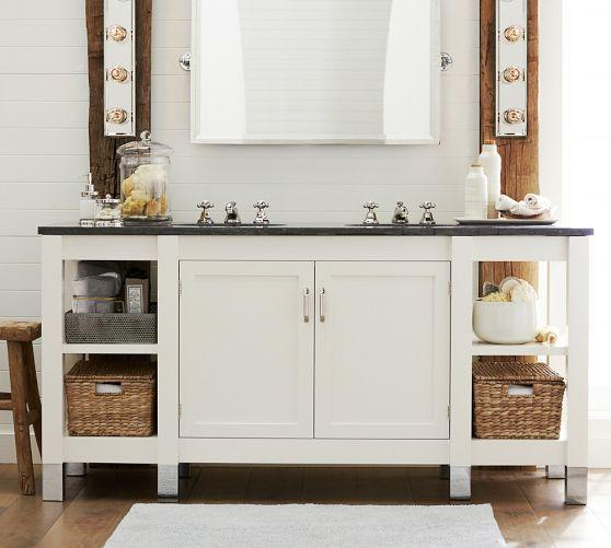 Napa Double Sink Console With Limestone Pottery Barn